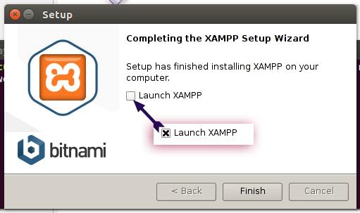 پایان نصب در xampp اوبونتو